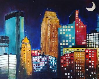 Moon over Minneapolis Skyline reprint
