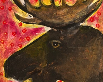 Moose original tiny painting on paper