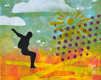 Freeflying skydiver with sunset original gelli print on paper