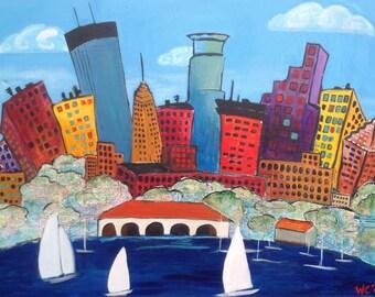 Minneapolis Skyline Lake Bde Maka Ska reprint