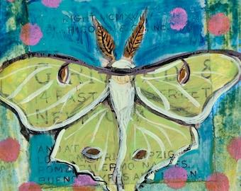 Luna Moth original tiny painting on paper