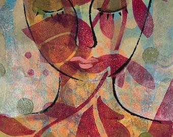 Peaceful Face with leaf shadows original gelli print