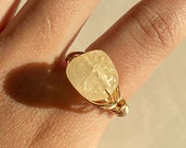 citrine crystal wire wrapped ring