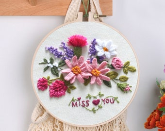 Flower Embroidery Kit for Beginner - 1 Plastic Embroidery Hoop, Color Threads and Tools, English Manual