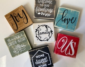 """Farmhouse Rustic Wood Block Word Signs White Personalized to Order 6/""""-10/"""" X 3.5/"""""""