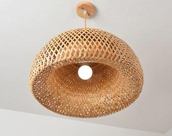 Bamboo Lamp Shade Pendant,Rattan Lamp Shade,Wicker Lampshade,Wicker Lamp,Bamboo Light Fixture,Rattan Light Pendant,Bamboo Light,Rattan Light