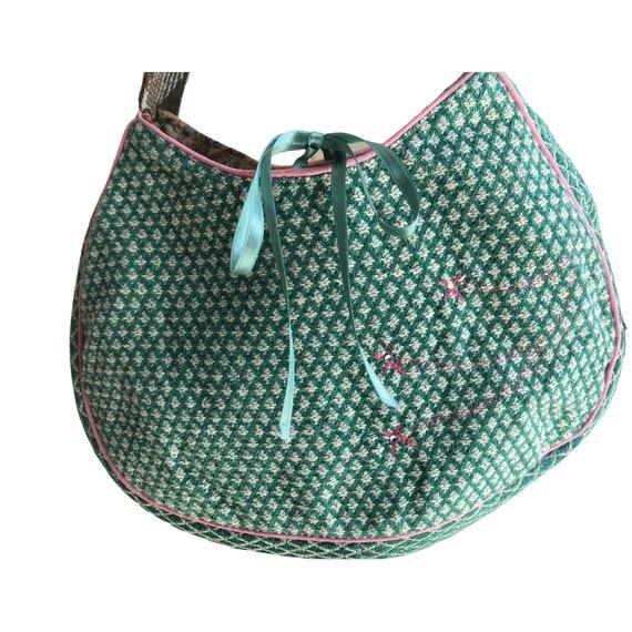 Beautiful Handbag green fabric pink embroidered - image 1