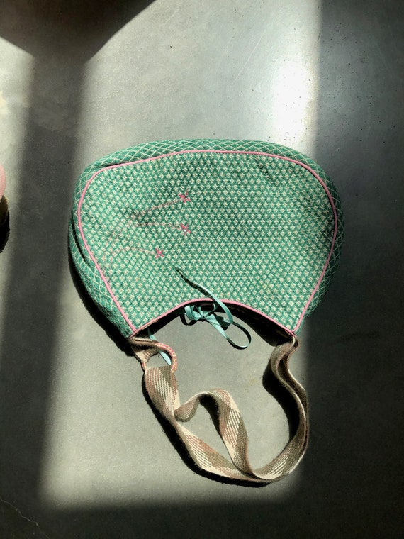 Beautiful Handbag green fabric pink embroidered - image 7
