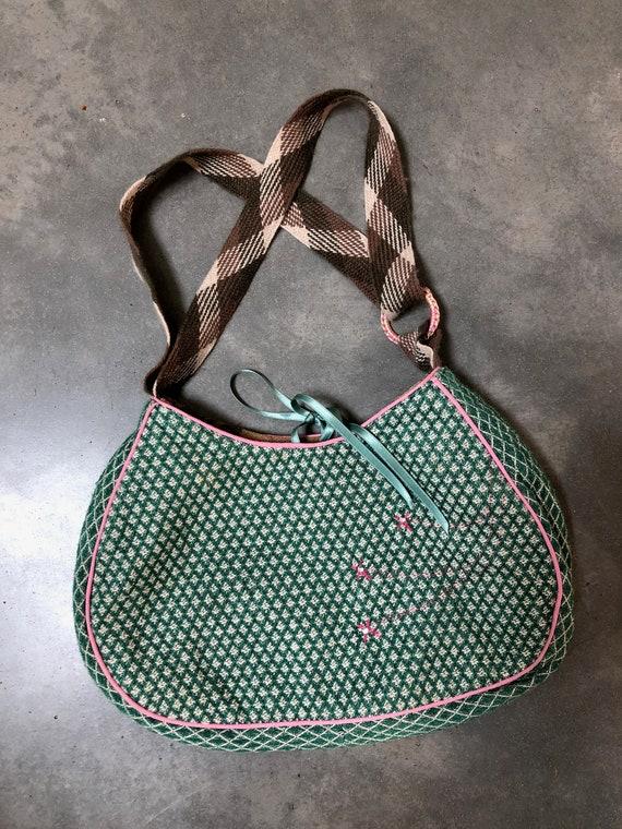 Beautiful Handbag green fabric pink embroidered - image 5