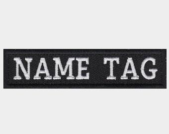 Custom Embroider biker Name Tag 1 Inch High