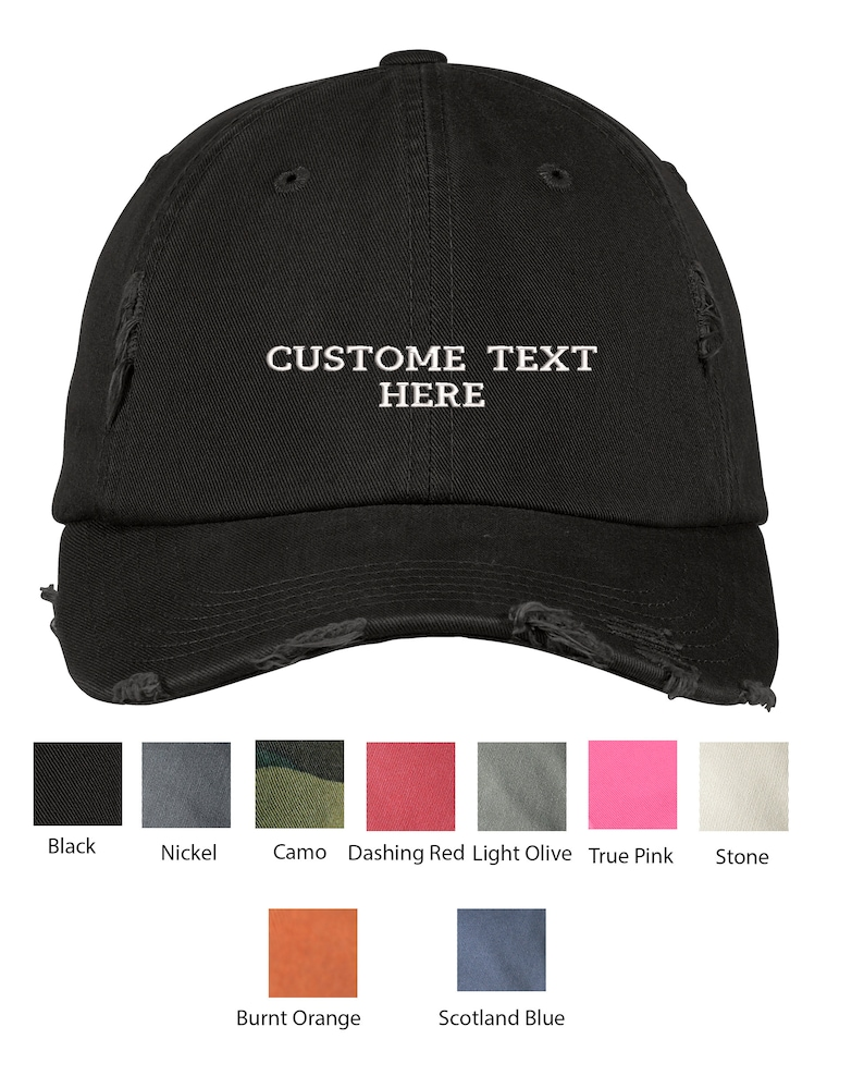 Custom Embroidered Hats Distressed Cap  Personalize Your Hat  Make Your Statement