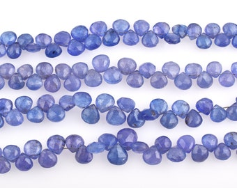 """Tanzanite Heart Shape Faceted Briolette Beads-Faceted Beads-Tanzanite Faceted Beads-Heart Shape Briolette-Tanzanite Beads-Briolette Beads-8"""""""