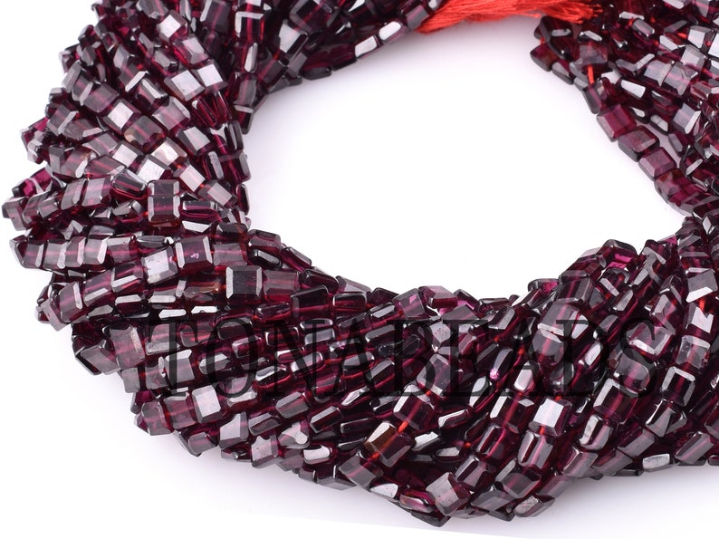 Square Shape Garnet Faceted Beads-5mm-Natural Garnet Beads-Garnet Square Shape Bead-13-Garnet Faceted Beads-Top Quality Garnet Square Beads
