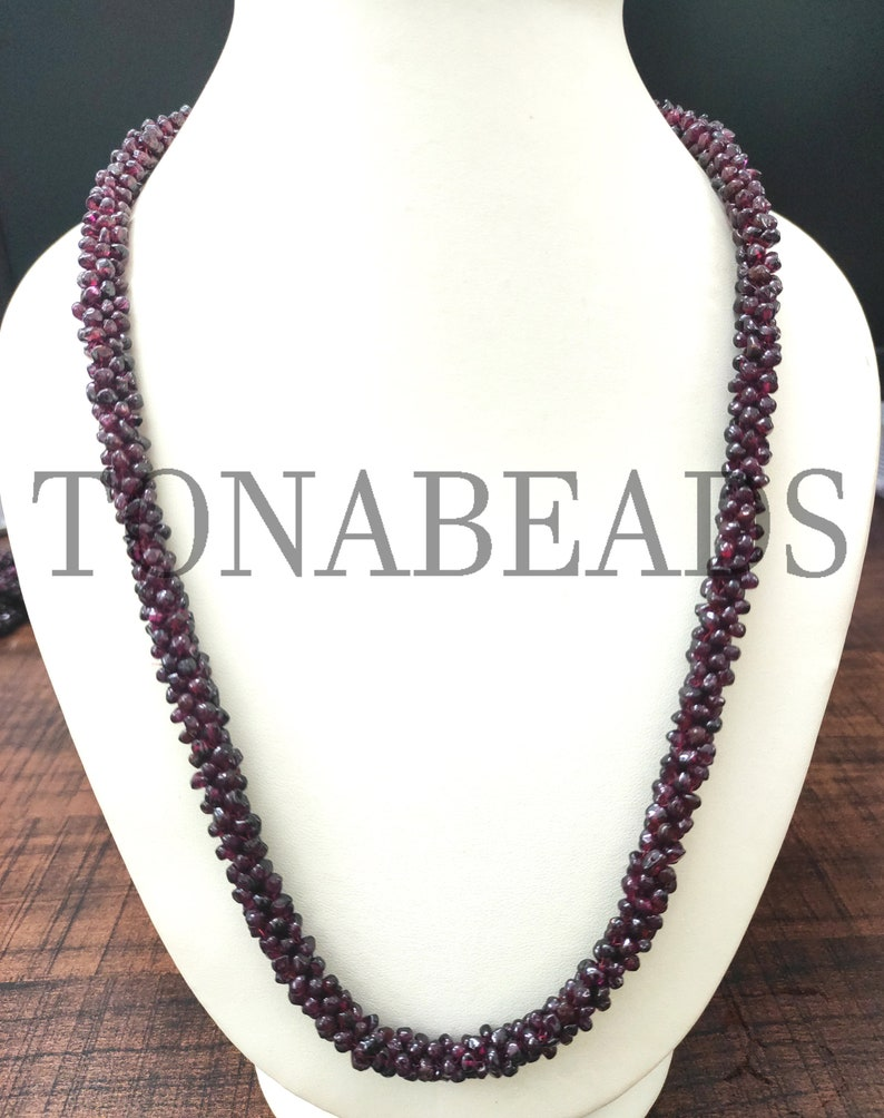 Handmade Necklace Necklace Garnet Garnet Rope Necklace Rope ...