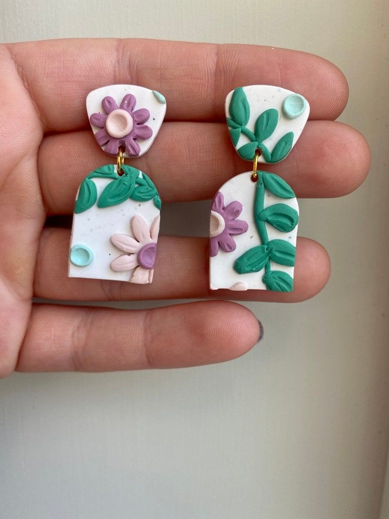 First Bloom Violet Dangle Clay Earring