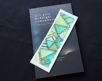 Mosaic Triangles Bookmarks   Handlettered   Line Art   Original Watercolours   Bookish Gifts