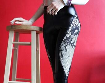Large SD Lace & pleather pants