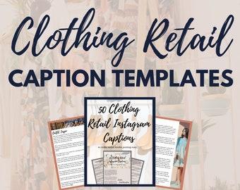 Instagram Captions Entrepreneurs 50+ Clothing Retailer Retail shopping, Caption Presets, Caption Prompts , premade caption templates, CANVA