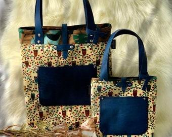 Gift Personalized Tag Tote bag canvas mix leather Bridesmaid gift handmade bag Mother gift Sheridan tote Shoulder bag TOTE bag