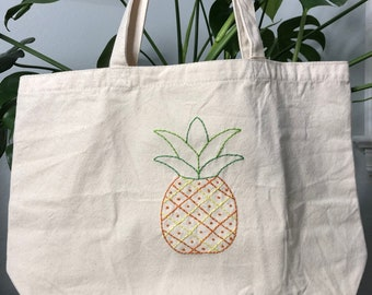 Pineapple Tote Bag Hand Embroidered