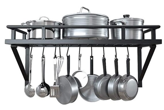 24 Inch Kitchen Wall Mount Pot Pan Rack Wall Shelf With 10 Hooks Matte Black, KUR215S60-BK
