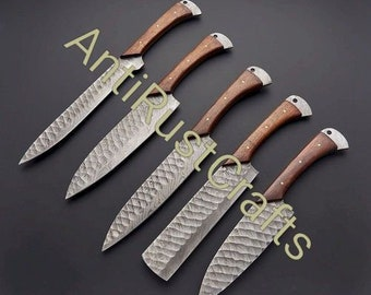 Custom Handmade 5 pieces Damascus Steel Chef set with wooden Handle/ Kitchen Knife set