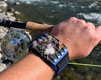 Patented fly fishing accessory, quickly access flies right on your arm with FlyBandz.