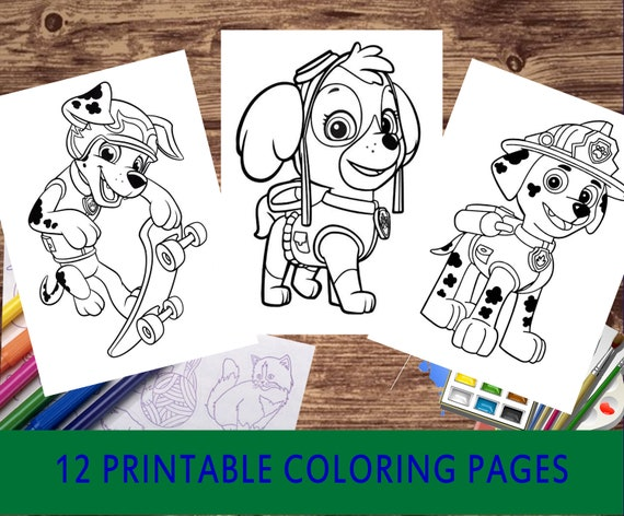 Coloring book pages  Paw patrol coloring pages  12 different