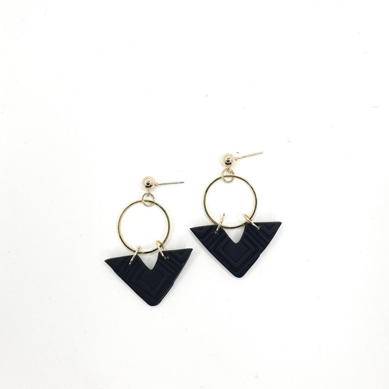 gifts for her the vegas in black handmade polymer clay statement earrings