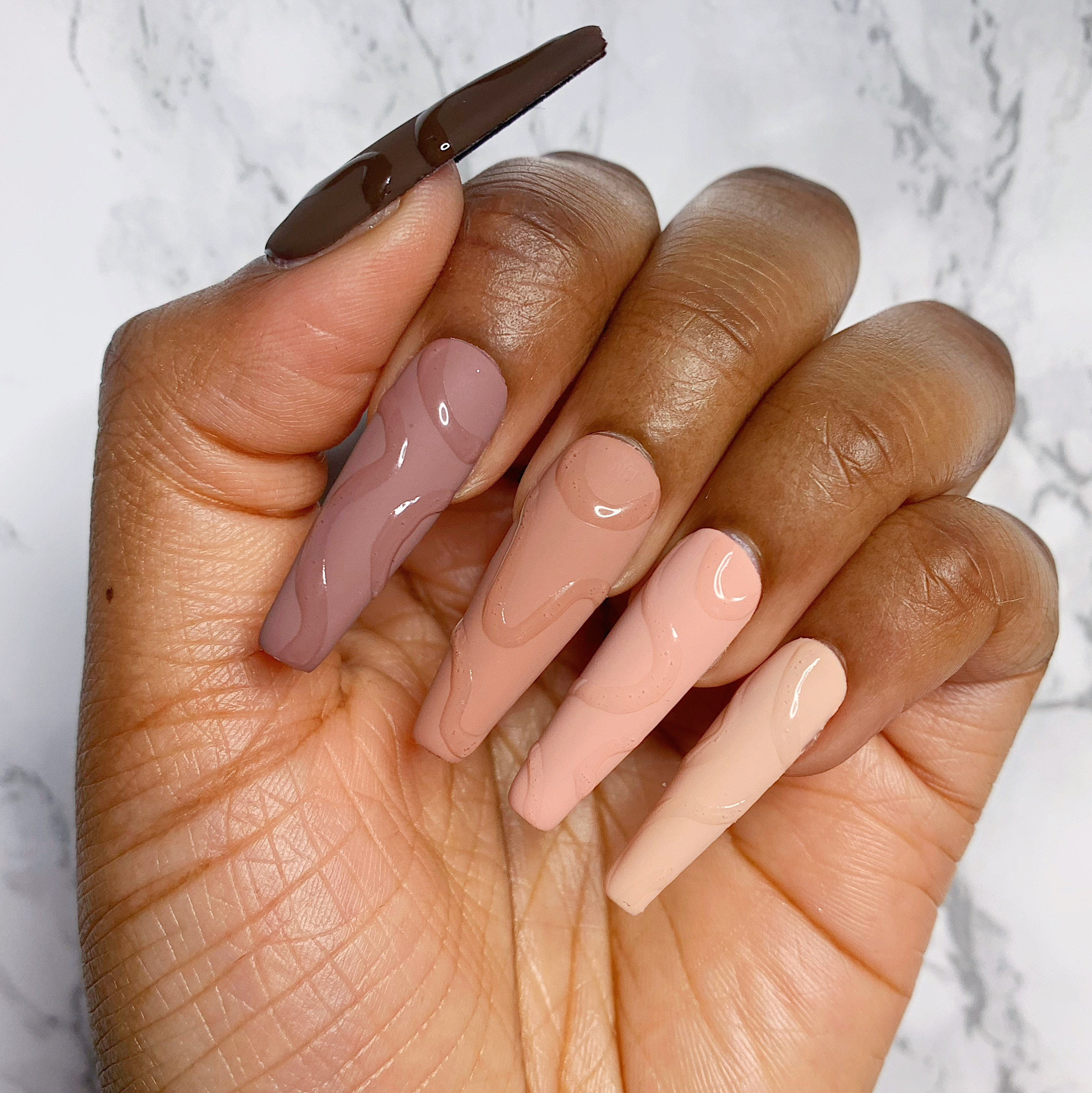 Nude swirl press on nails   Etsy
