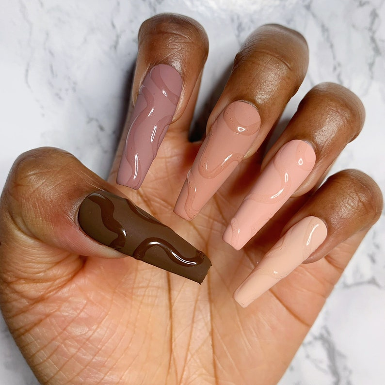 Brown Nude Abstract Swirl Matte Glossy Press On Nail Set  image 0