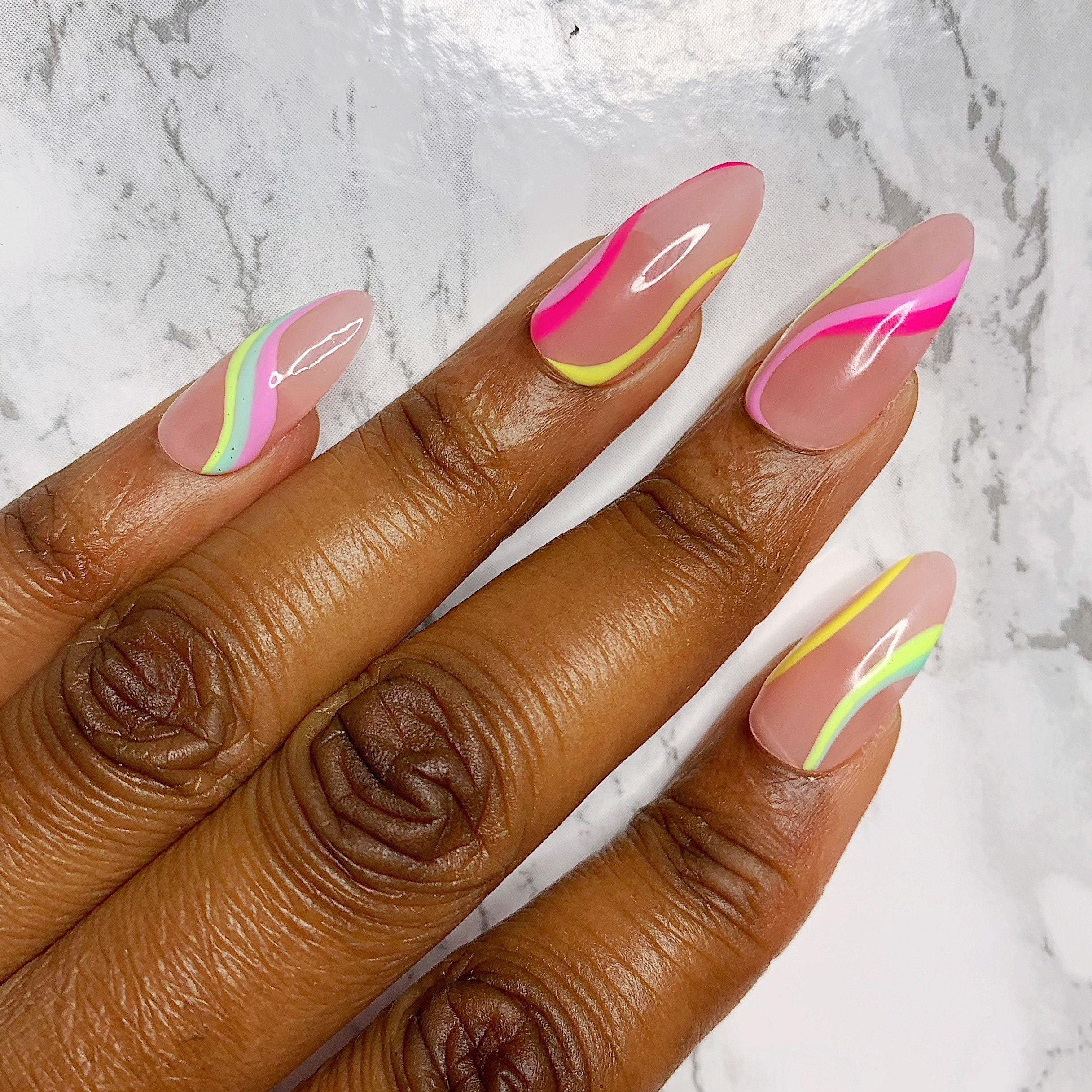 Pastel Swirl Abstract Nude Press On Nail Set Almond Shape