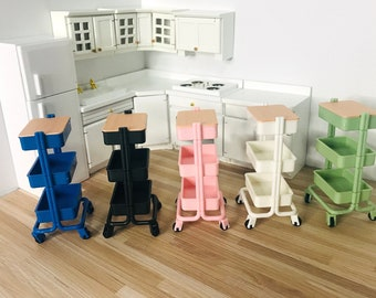 Full Colour Restock 1:12 Scale Miniature Multi-colour Utility Carts, 1/8 Dollhouse Furniture Storage Carts