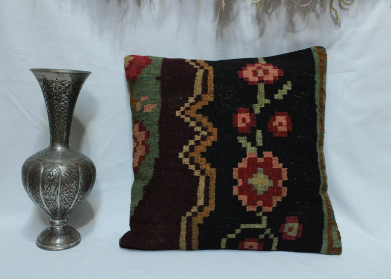 Middleeastern Vintage Turkish Pottery on Throw Pillow Cover CERAMIC VASE PILLOW