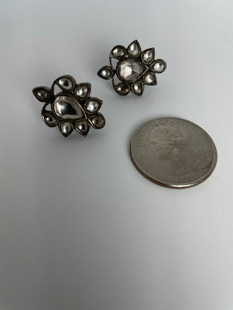 Women/'s Oxidized Sterling Silver Floral Stud Earrings with CZ .Beautiful Dreamy Antique Uncut Diamonds Flower Studs .925 Statement Earrings