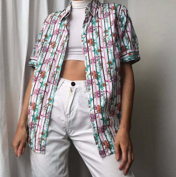 Vintage 80s Floral and Stripped Blouse Shirt