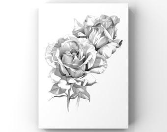 Rose / flower pencil drawing art print A4 unframed (5 options)