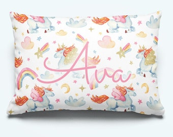 Baby Shower Gift Unicorn Pillow Baby Girl Throw Pillow Play Room Girls Nursery Decor Personalized Pillow Zippered Pillow Unicorn Gift