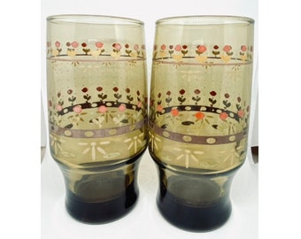 Floral Patterned Glasses Set of Five Mid Century Kitchenware Vintage Drinking Cups