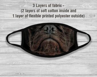 Black Pug Dog Face Mask, Dog Face Mask, Face Mask, Reusable Mask, Washable Mask, Cotton Mask, Printed Mask, Fabric Mask, Pug Dog, NC157