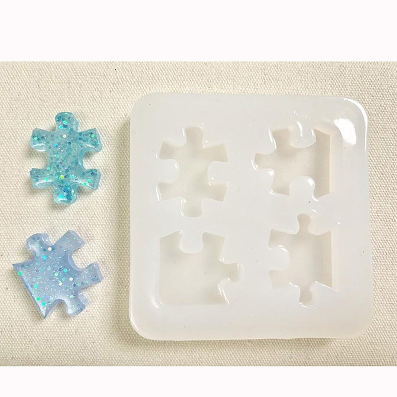 4 Holes Shiny Puzzle Silicone Mould,Cartoon UV Resin Mold,Decoden Case,Jewelry Making  Mold,Handmade Cold Soap Mold,Aroma Rice Cake Mold