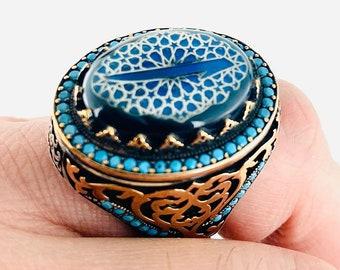 SILVER MEN RING-Teskilati Mahsusa Style Men Ring-Ottoman Ring-Turkish Handmade-Organization Ring-Crescent Ring-Signet Rings