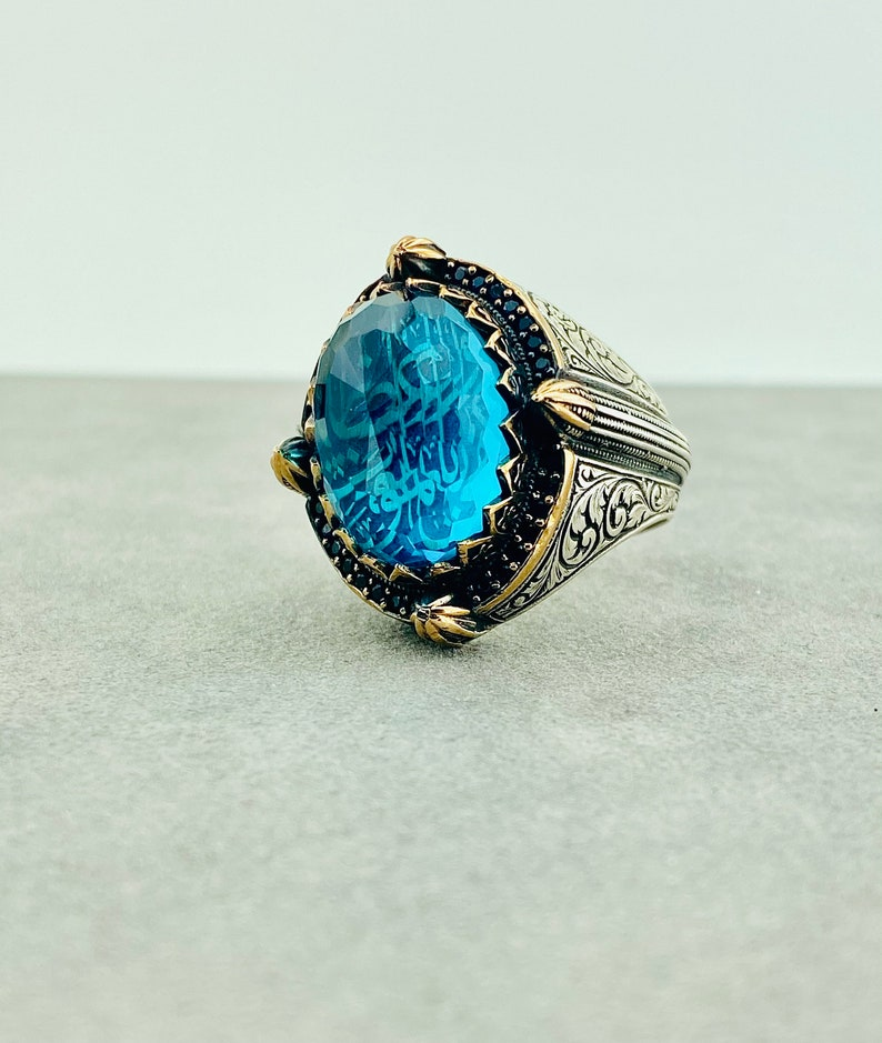 ISLAMIC Ring Delicate Antique Ring TURKISH RING 925 Silver Blue Gemstone Ring Gift for Friend Muslim Mystic Topaz Ring