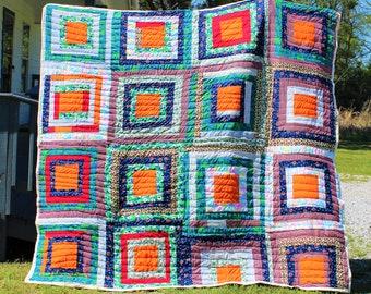 Handsewn Quilt, Cotton Quilt, Handstitched Quilt, Gee's Bend Quilt