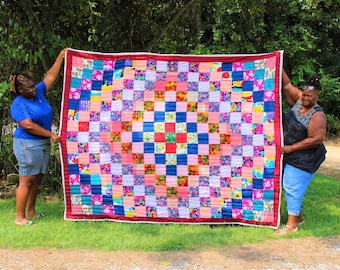 Handsewn Quilt, Cotton Quilt, Quilted Tapestry, Gee's Bend Quilt, Tapestry Quilt, Quilt, Tapestry, Artistic Quilt