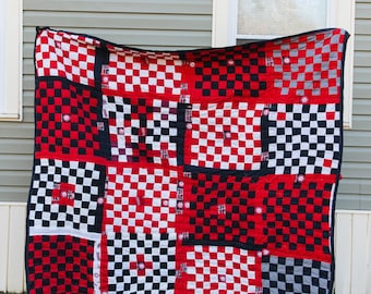 Handsewn Quilt, Cotton Quilt, Quilted Tapestry, Gee's Bend Quilt, University of Alabama Quilt