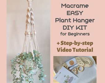 EASY Macrame Plant Hanging DIY KIT for beginners Macrame Plant Hanger Kit with a written instruction & video tutorial Christmas gift for her