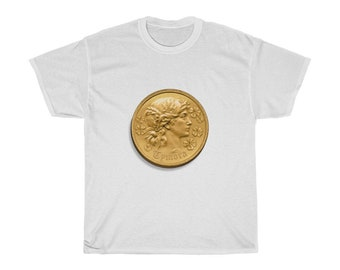 Tymora Coin T-Shirt (DnD deity of good fortune)
