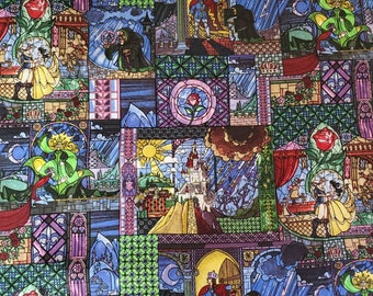 Disney Beauty and the Beast Stain Glass 100% Cotton Fabric yard, 1/2 yard, or fat quarter