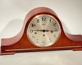 W. Haid Westminster Chime Mantel Clock 340-020 Walnut Art Deco Style Made in West Germany
